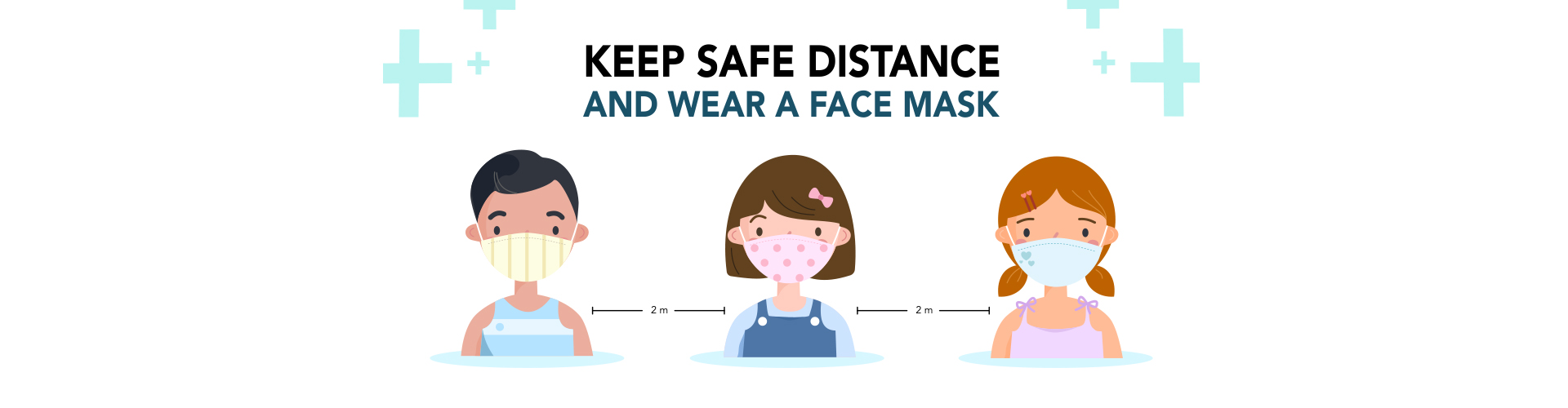 Children wearing fabric masks and keep safe distance