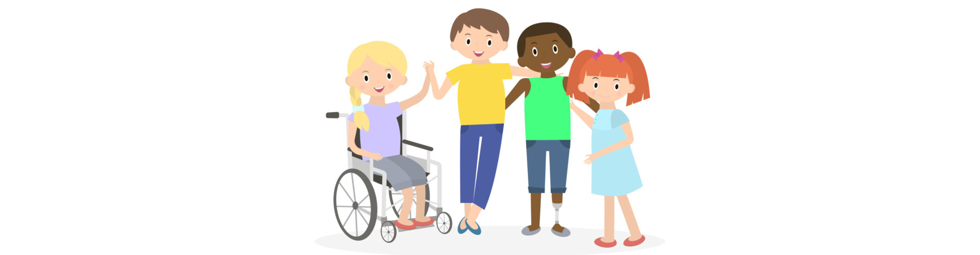 Disabled kids with friends. Handicapped children isolated on white. Special needs children with friends.